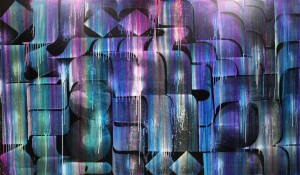 Rostarr -  <strong>Diluvium Alice II</strong> (2016<strong style = 'color:#635a27'></strong>)<bR /> various inks, acrylic and polymer on canvas, 45 x 77 inches, (114.3 x 195.58 cm)