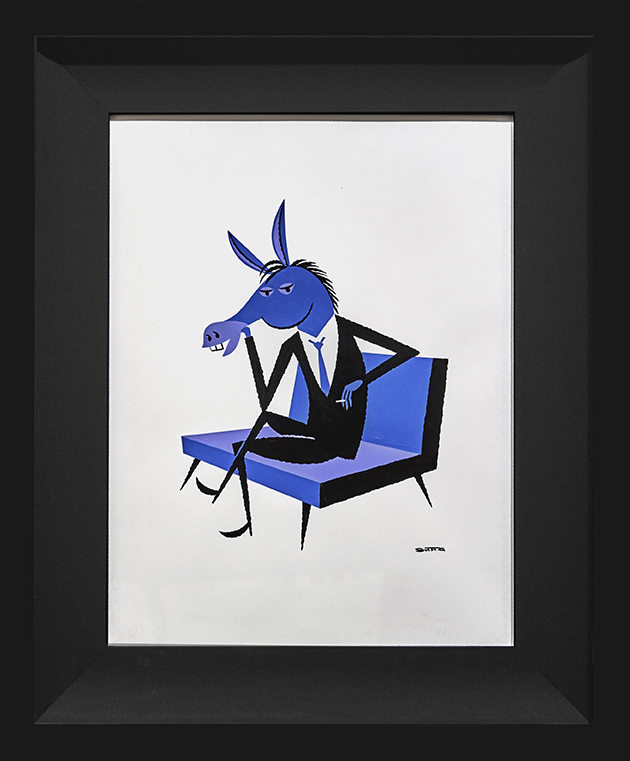 Shag -  <strong>Dispirited Donkey</strong> (2016<strong style = 'color:#635a27'></strong>)<bR /> acrylic and ink on paper, 13 x 17 inches,  (33 x 43.2 cm). Framed: 20 x 24 inches, (50.8 x 60.96 cm) $1,800