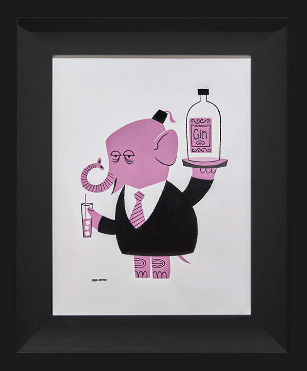 Shag -  <strong>Elephant With Vodka</strong> (2016<strong style = 'color:#635a27'></strong>)<bR /> acrylic and ink on paper, 13 x 17 inches,  (33 x 43.2 cm). Framed: 20 x 24 inches, (50.8 x 60.96 cm)