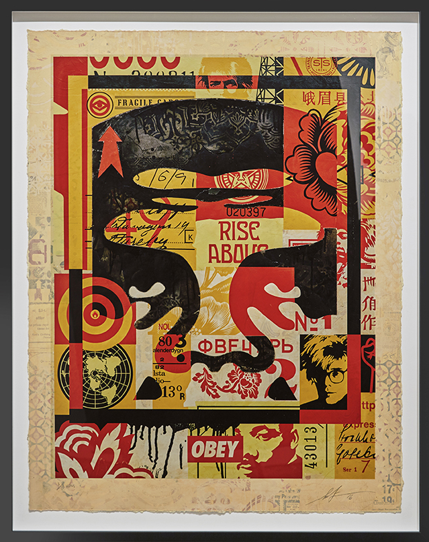Shepard Fairey -  <strong>Icon Collage (Top) edition 3/10</strong> (2016<strong style = 'color:#635a27'></strong>)<bR /> silkscreen and mixed media collage on paper, HPM. Framed.  38.75 x 30 inches, (98.42 x 76.2 cm)
