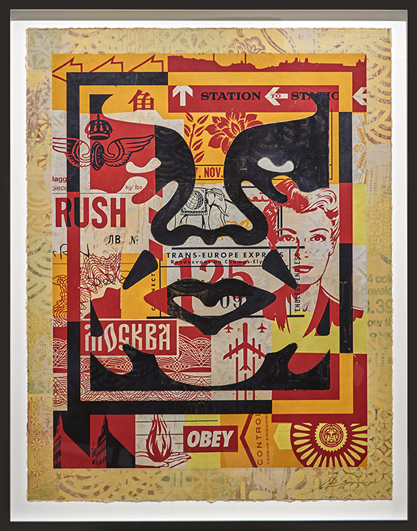 Shepard Fairey -  <strong>Icon Collage (Bottom) edition 3/10</strong> (2016<strong style = 'color:#635a27'></strong>)<bR /> silkscreen and mixed media collage on paper, HPM. Framed.  38.75 x 30 inches, (98.42 x 76.2 cm)