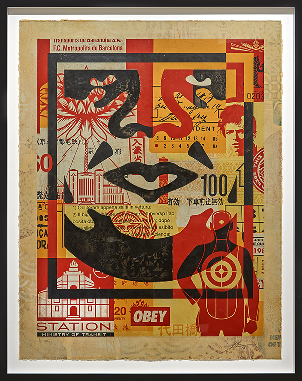 Shepard Fairey -  <strong>Icon Collage (Middle) edition 3/10</strong> (2016<strong style = 'color:#635a27'></strong>)<bR /> silkscreen and mixed media collage on paper, HPM. Framed.  38.75 x 30 inches, (98.42 x 76.2 cm)