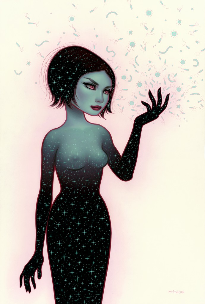 Tara McPherson -  <strong>Precarious Opposition</strong> (2016<strong style = 'color:#635a27'></strong>)<bR /> oil on Birch panel, 36 x 24 inches, (91.44 x 60.96 cm)