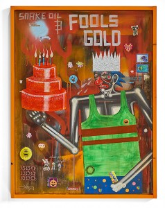 Carlos Ramirez -  <strong>Snake Oil and Fools Gold</strong> (2017<strong style = 'color:#635a27'></strong>)<bR /> acrylic, mixed media and found objects, 30 x 37.5 inches, (76.2 x 95.25 cm) $12,000