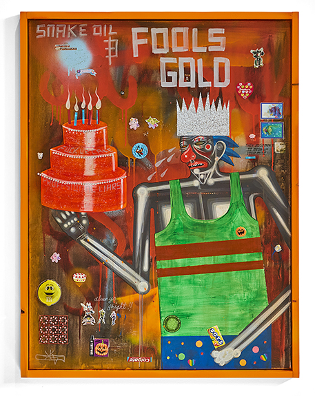 Carlos Ramirez -  <strong>Snake Oil and Fools Gold</strong> (2017<strong style = 'color:#635a27'></strong>)<bR /> acrylic, mixed media and found objects, 30 x 37.5 inches, (76.2 x 95.25 cm)