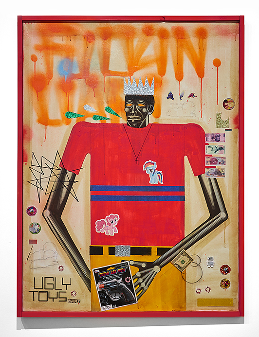 Carlos Ramirez -  <strong>Ugly Toys</strong> (2017<strong style = 'color:#635a27'></strong>)<bR /> acrylic, mixed media and found objects, 35.5 x 48 inches, (90.17 x 121.92 cm)