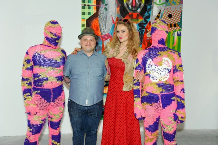 Jonathan-LeVine-and-exhibiting-artist-Olek