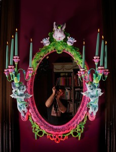 Adam Wallacavage -  <strong>Love Lies Bleeding</strong> (2017<strong style = 'color:#635a27'></strong>)<bR /> antique reproduction mirror, cast plaster squeaky toy heads, spray paint, epoxy clay, epoxy resin, 45 x 38 x 12 inches, $6,750