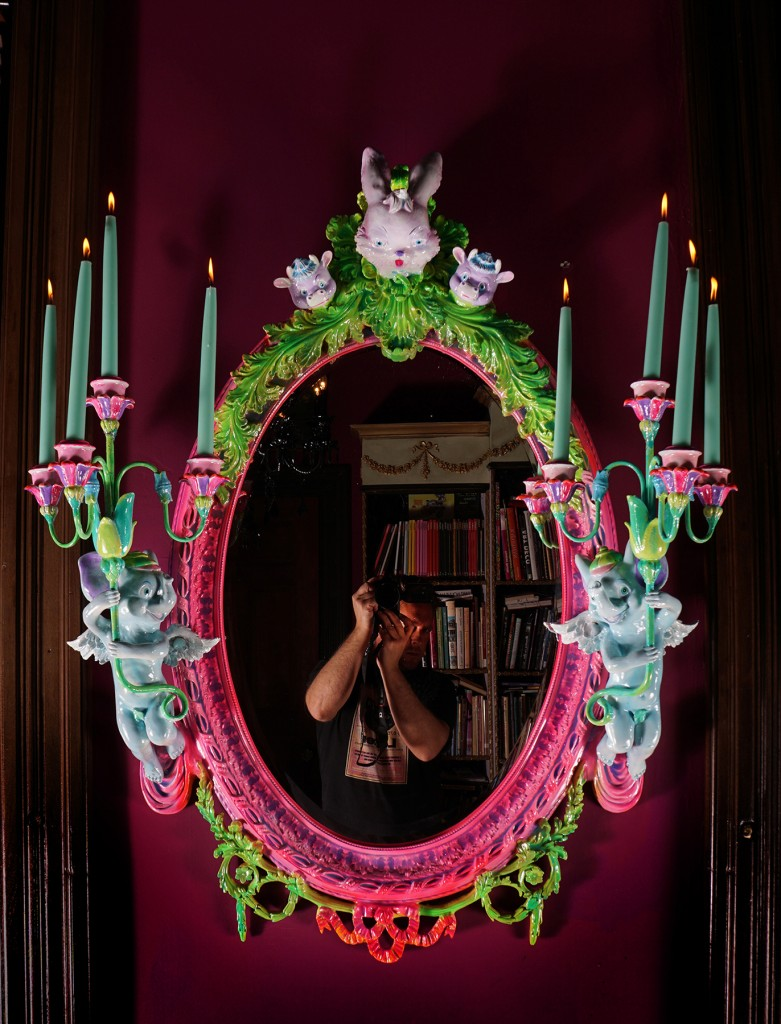 Adam Wallacavage -  <strong>Love Lies Bleeding</strong> (2017<strong style = 'color:#635a27'></strong>)<bR /> antique reproduction mirror, cast plaster squeaky toy heads, spray paint, epoxy clay, epoxy resin, 45 x 38 x 12 inches, (114.3 x 96.52 x 30.48 cm)