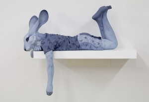 Alessandro Gallo & Beth Cavener -  <strong>Lost in Thought</strong> (2017<strong style = 'color:#635a27'></strong>)<bR /> stoneware and mixed media, 25 x 12.5 x 20 inches, $18,000