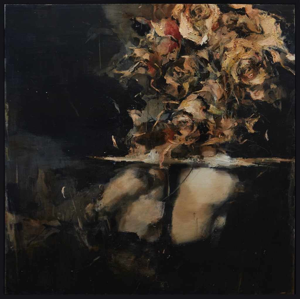 Ashley Wood -  <strong>For Visiting Us</strong> (2016-17<strong style = 'color:#635a27'></strong>)<bR /> oil on aluminum panel,  35 x 35 inches, (88.9 x 88.9 cm). Framed: 36.75 x 36.75 inches, (93.34 x 93.34 cm)