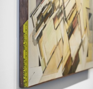 Augustine Kofie -  <strong>Modernizing Room</strong> (2016<strong style = 'color:#635a27'></strong>)<bR /> found paper, ball point pen, acrylic and spray paint on cradled birch panel. Coated in archival matte finish. Finished in satin gel medium. Framed in mahogany stained pine and found yardsticks, 24 x 60 x 1.75 inches, (60.96 x 152.4 x 4.44 cm). Framed: 24.5 x 60.5 x 1.75 inches, (62.23 x 153.67 x 4.44 cm)