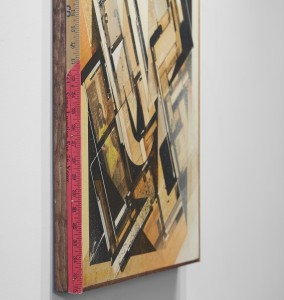 Augustine Kofie -  <strong>She Problema (detail)</strong> (2016<strong style = 'color:#635a27'></strong>)<bR /> found paper, ball point pen, acrylic and water-based spray paint on cradled birch panel. Sealed in archival matte varnish. Finished in satin gel medium. Framed in mahogany stained pine and found yardsticks, 24 x 24 x 1.75 inches, (60.96 x 60.96 x 4.44 cm) Framed: 24.25 x 24.25 x 1.75 inches, (61.59 x 61.59 x 4.44 cm)