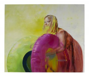 Chloe Early -  <strong>The Gathering</strong> (2017<strong style = 'color:#635a27'></strong>)<bR /> oil on aluminum panel,  53.93 x 48.03 inches, (137 x 122 cm) $9,000