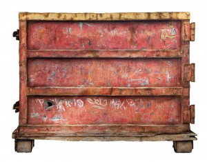 Dan Witz -  <strong>Container (S. Williamsburg)</strong> (2017<strong style = 'color:#635a27'></strong>)<bR /> oil and mixed media on panel, 47 x 61 inches, (119.38 x 154.94 cm) $10,000
