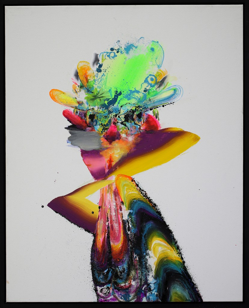 David Choong Lee -  <strong>Figure 4</strong> (2017<strong style = 'color:#635a27'></strong>)<bR /> acrylic, latex and aerosol paint, 30 x 24 inches,  $3400