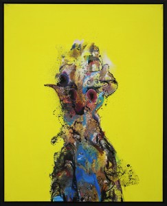 David Choong Lee -  <strong>Figure 5</strong> (2017<strong style = 'color:#635a27'></strong>)<bR /> acrylic, latex and aerosol paint, 30 x 24 inches, $3,400