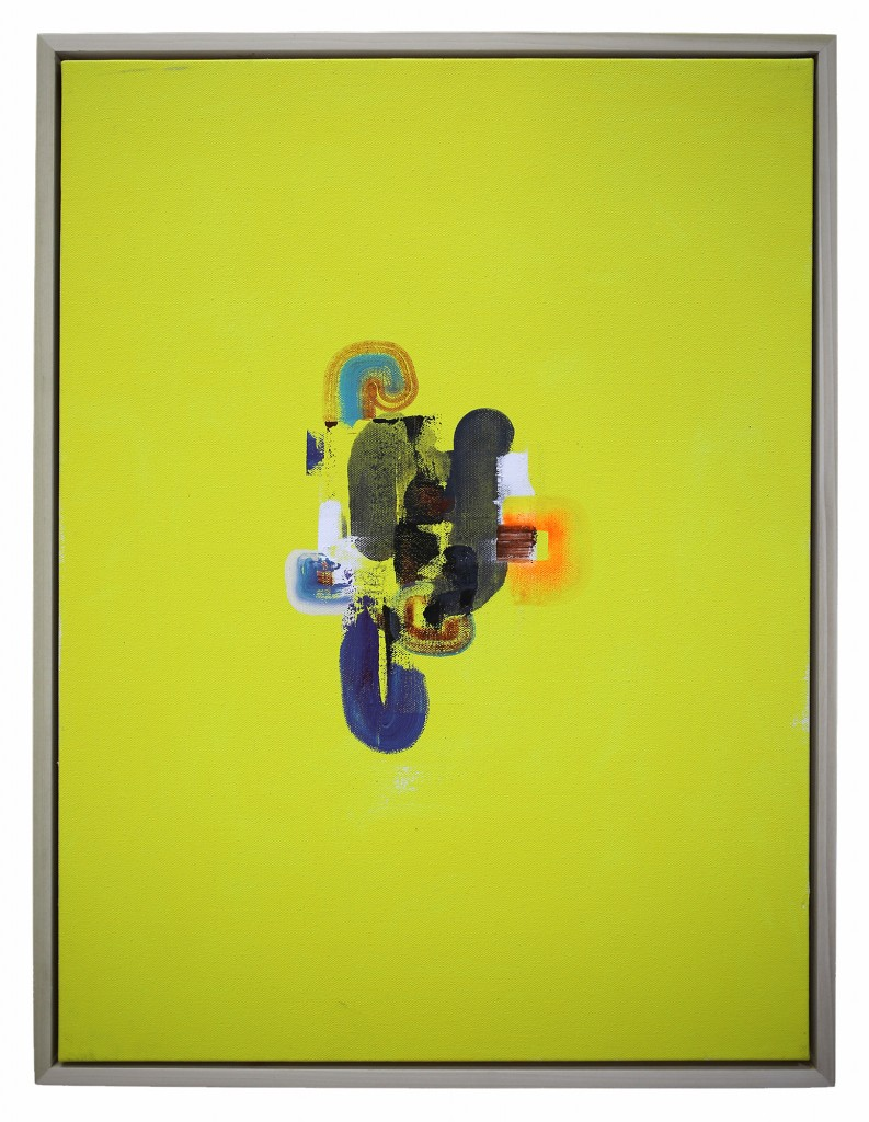 David Choong Lee -  <strong>Hole 1</strong> (2017<strong style = 'color:#635a27'></strong>)<bR /> acrylic, latex and aerosol paint, 24 x 18 inches,  (60.96 x 45.72 cm) $2,100