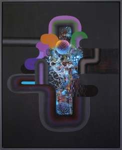 David Choong Lee -  <strong>Hole 10</strong> (2017<strong style = 'color:#635a27'></strong>)<bR /> acrylic, latex and aerosol paint, 30 x 24 inches, $3,400