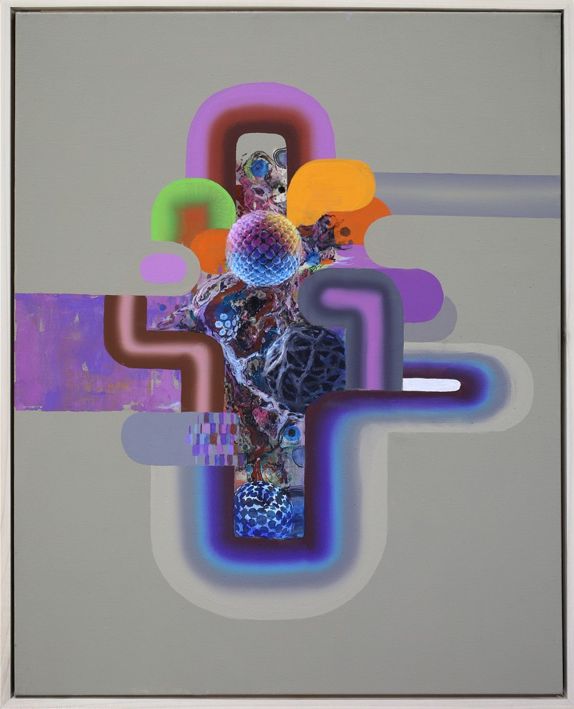 David Choong Lee -  <strong>Hole 11</strong> (2017<strong style = 'color:#635a27'></strong>)<bR /> acrylic, latex and aerosol paint, 30 x 24 inches, $3,400