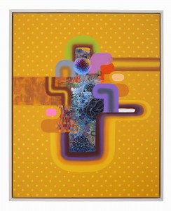 David Choong Lee -  <strong>Hole 9</strong> (2017<strong style = 'color:#635a27'></strong>)<bR /> acrylic, latex and aerosol paint, 30 x 24 inches, $3,400