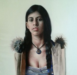 Eloy Morales -  <strong>I Have a Sad Beauty 2</strong> (2016<strong style = 'color:#635a27'></strong>)<bR /> oil on canvas, 39.37 x 39.37 inches, (100 x 100 cm) $10,000