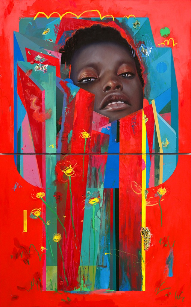Erik Jones -  <strong>Bloom</strong> (2017<strong style = 'color:#635a27'></strong>)<bR /> pencil, wax pastel, acrylic, assorted paper and sticker collage on board, 30 x 48 inches, (76.2 x 121.92 cm)