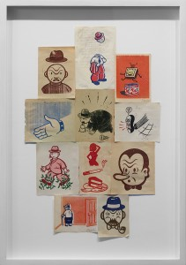 Gary Taxali -  <strong>Serigraph Assemblage #8</strong> (2012<strong style = 'color:#635a27'></strong>)<bR /> mixed media on paper, 12.75 x 20.25 inches, (32.38 x 51.43 cm). Framed: 17.5 x 25 inches, (44.45 x 63.5 cm) $4,500