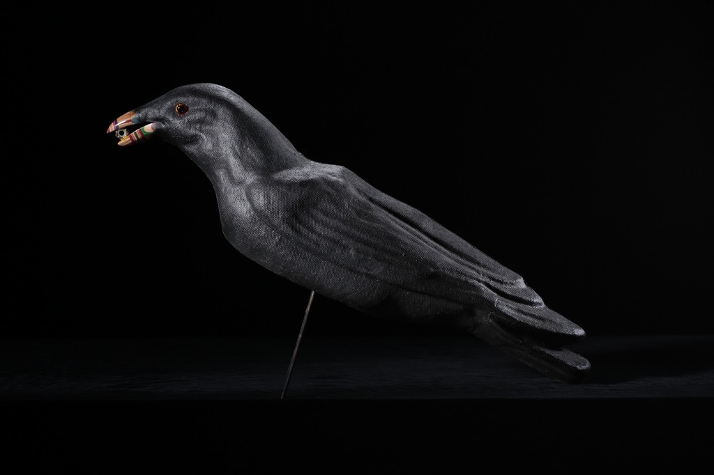 Haroshi -  <strong>Never Rust Female Crow (side)</strong> (2015<strong style = 'color:#635a27'></strong>)<bR /> antique paper mache, skateboard, nut, 15.5 x 18.5 x 3 inches, (39.37 x 46.99 x 7.62 cm)