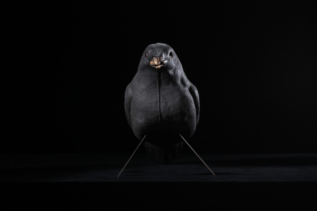 Haroshi -  <strong>Never Rust Male Crow</strong> (2015<strong style = 'color:#635a27'></strong>)<bR /> antique paper mache, skateboard, screw, 15.5 x 18.5 x 3 inches, (39.37 x 46.99 x 7.62 cm)