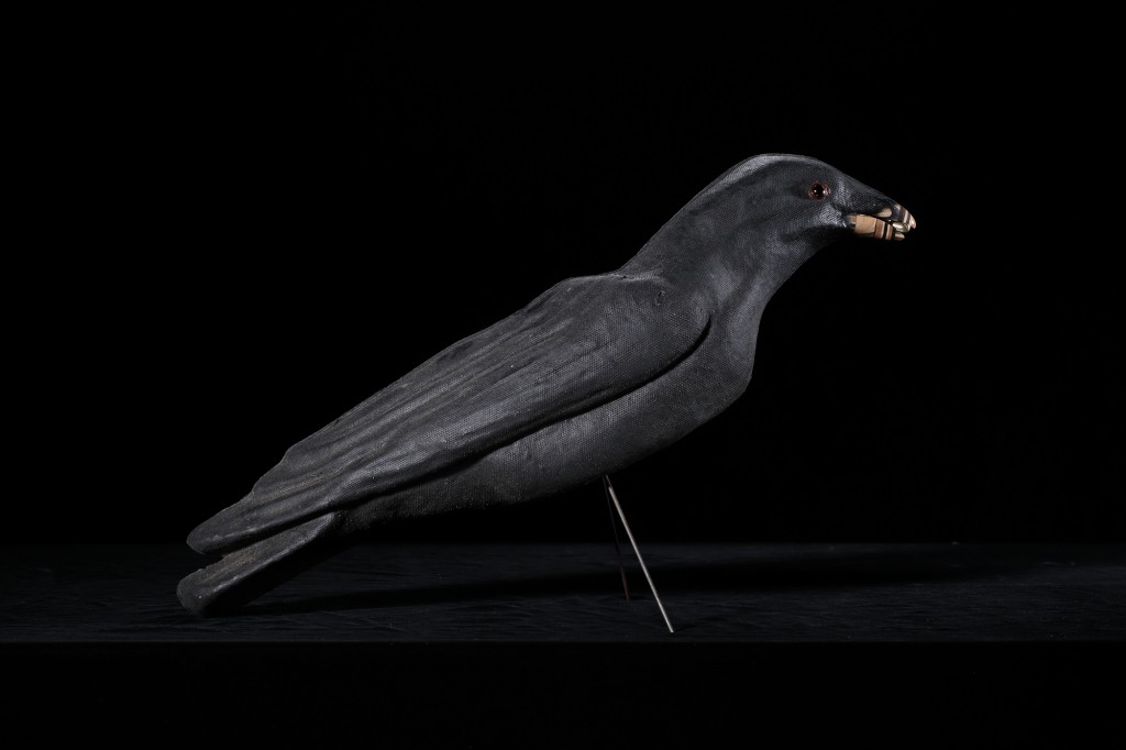 Haroshi -  <strong>Never Rust Male Crow (side)</strong> (2015<strong style = 'color:#635a27'></strong>)<bR /> antique paper mache, skateboard, screw, 15.5 x 18.5 x 3 inches, (39.37 x 46.99 x 7.62 cm)