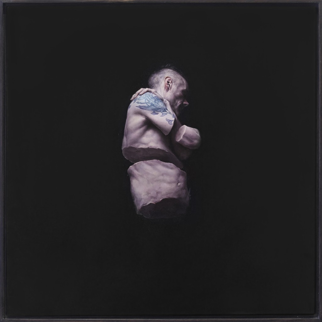 Jeremy Geddes -  <strong>Fury 1</strong> (2016<strong style = 'color:#635a27'></strong>)<bR /> oil on board, 17.71 x 17.71 inches, (44.98 x 44.98 cm). Framed: 18.5 x 18.5 inches, (46.99 x 46.99 cm)
