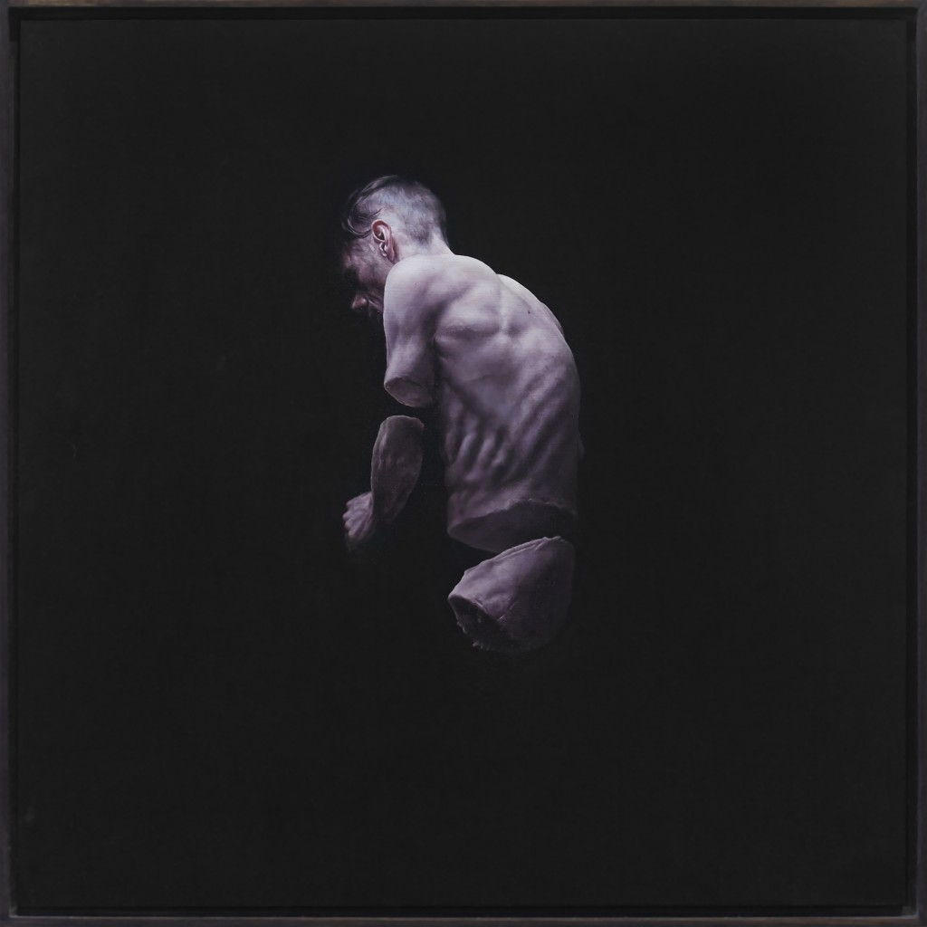 Jeremy Geddes -  <strong>Fury 2</strong> (2016<strong style = 'color:#635a27'></strong>)<bR /> oil on board, 17.71 x 17.71 inches, (44.98 x 44.98 cm). Framed: 18.5 x 18.5 inches, (46.99 x 46.99 cm)