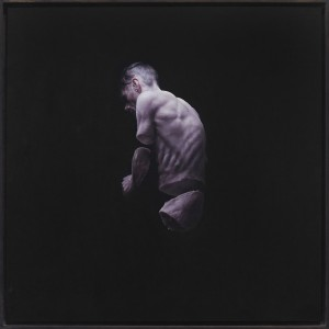 Jeremy Geddes -  <strong>Fury 2</strong> (2016<strong style = 'color:#635a27'></strong>)<bR /> oil on board, 17.71 x 17.71 inches, (44.98 x 44.98 cm). Framed: 18.5 x 18.5 inches, (46.99 x 46.99 cm) $12,000