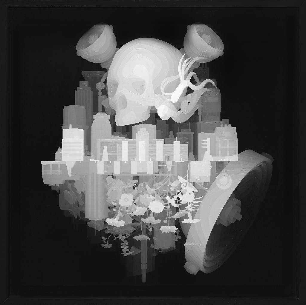 Kazuki Takamatsu -  <strong>A Town Approaches From the Left</strong> (2008<strong style = 'color:#635a27'></strong>)<bR /> acrylic, acrylic gouache, medium gesso, giclee on tarpaulin, 31.49 x 31.49 inches, (80 x 80 cm). Framed: 36 x 36 inches, (91.44 x 91.44 cm)