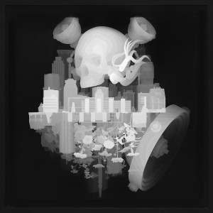 Kazuki Takamatsu -  <strong>A Town Approaches From the Left</strong> (2008<strong style = 'color:#635a27'></strong>)<bR /> acrylic, acrylic gouache, medium gesso, giclee on tarpaulin, 31.49 x 31.49 inches, (80 x 80 cm). Framed: 36 x 36 inches, (91.44 x 91.44 cm) $13,000