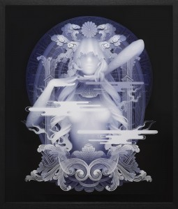 Kazuki Takamatsu -  <strong>Confidence</strong> (2016<strong style = 'color:#635a27'></strong>)<bR /> acrylic, acrylic gouache, medium, gesso, giclee on tarpaulin, 28.62 x 23.85 inches, (72.7 x 60.6 cm). Framed: 33 x 28.25 inches, (83.82 x 71.75 cm) $11,000