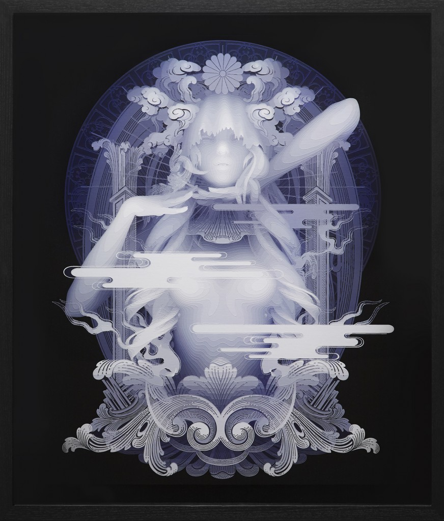Kazuki Takamatsu -  <strong>Confidence</strong> (2016<strong style = 'color:#635a27'></strong>)<bR /> acrylic, acrylic gouache, medium, gesso, giclee on tarpaulin, 28.62 x 23.85 inches, (72.7 x 60.6 cm). Framed: 33 x 28.25 inches, (83.82 x 71.75 cm)