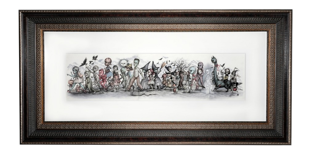 Mab Graves -  <strong>The Monster's Parade</strong> (2016<strong style = 'color:#635a27'></strong>)<bR /> graphite, marker and gouache on translucent Yupo paper, 9 x 30 inches, (22.86 x 76.2 cm). Framed: 21.5 x 43.25 inches, (54.61 x 109.85 cm)