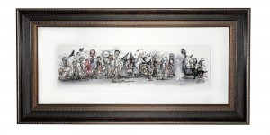 Mab Graves -  <strong>The Monster's Parade</strong> (2016<strong style = 'color:#635a27'></strong>)<bR /> graphite, marker and gouache on translucent Yupo paper, 9 x 30 inches, (22.86 x 76.2 cm). Framed: 21.5 x 43.25 inches, (54.61 x 109.85 cm) $6,500