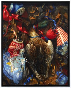 Martin Wittfooth -  <strong>Hail to the Chief</strong> (2017<strong style = 'color:#635a27'></strong>)<bR /> oil on panel, 20 x 16 inches, (50.8 x 40.64 cm. Framed: 21.5 x 17.5 inches, (54.61 x 44.45 cm) $6,000