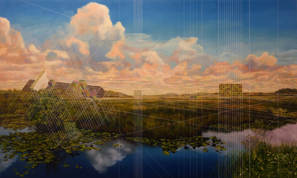 Mary Iverson -  <strong>Everglades National Park with Containers</strong> (2017<strong style = 'color:#635a27'></strong>)<bR /> oil on canvas,  36 x 60 inches,  (91.44 x 152.4 cm)