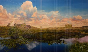 Mary Iverson -  <strong>Everglades National Park with Containers</strong> (2017<strong style = 'color:#635a27'></strong>)<bR /> oil on canvas,  36 x 60 inches,  (91.44 x 152.4 cm) $10,500