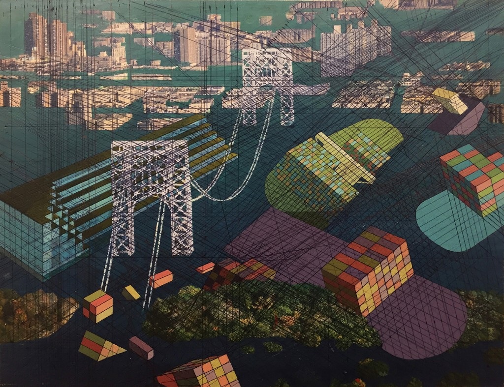 Mary Iverson -  <strong>George Washington Bridge with Trump Tower and Other Debris, 2017</strong> (2017<strong style = 'color:#635a27'></strong>)<bR /> acrylic, ink, found photograph on panel, 10 x 13 inches, (25.4 x 33.02 cm) $1,300