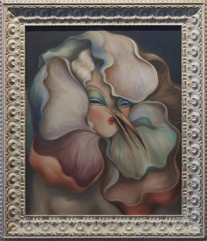 Miss Van -  <strong>Blooming Muse</strong> (2017<strong style = 'color:#635a27'></strong>)<bR /> oil on canvas in vintage frame, 25.19 x 21.25 inches, (64 x 54 cm). Framed: 32 x 27.5 inches, (81.28 x 69.85 cm)