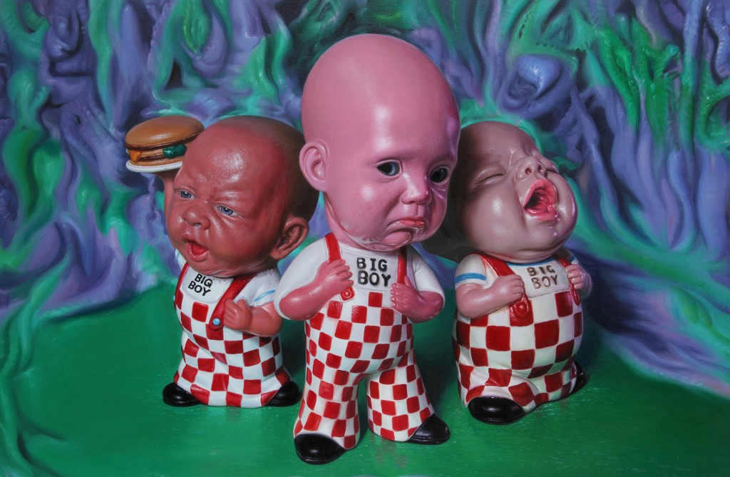 Ron English -  <strong>Big Boys Don't Cry</strong> (2012<strong style = 'color:#635a27'></strong>)<bR /> oil on canvas, 24 x 36 inches, (60.96 x 91.44 cm)