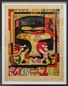 Shepard Fairey -  <strong>Icon Collage (Top) edition 3/10, 2016</strong> (2016<strong style = 'color:#635a27'></strong>)<bR /> silkscreen and mixed media collage on paper, HPM. Framed.  38.75 x 30 inches, (98.42 x 76.2 cm) $10,000