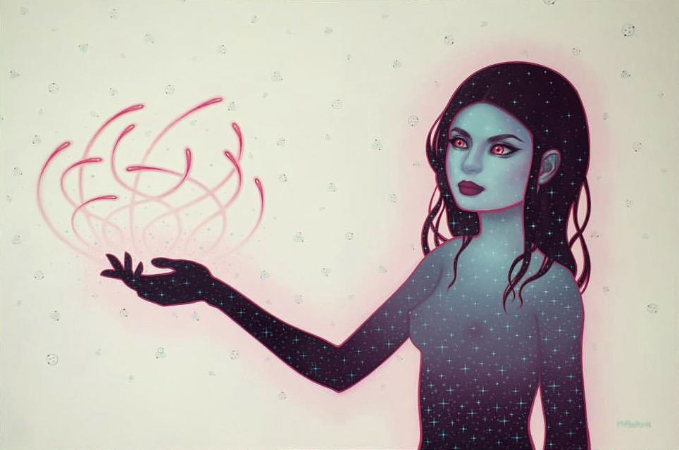 Tara McPherson -  <strong>Precarious Position</strong> (2017<strong style = 'color:#635a27'></strong>)<bR /> oil on Birch panel, 24 x 36 inches, (60.96 x 91.44 cm)