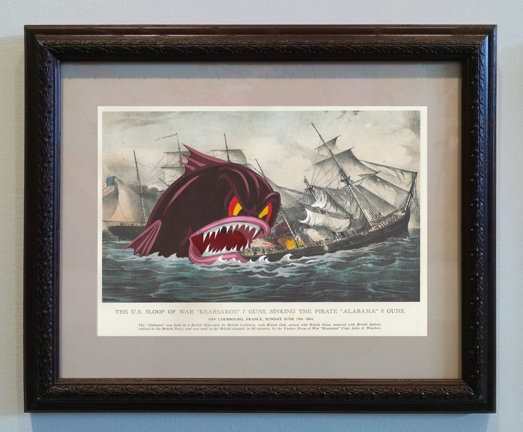 Victor Castillo -  <strong>The US Sloop of War</strong> (2017<strong style = 'color:#635a27'></strong>)<bR /> gouache on paper in vintage frame,  Framed: 13.87 x 11.25 inches, (35.22 x 28.57 cm)
