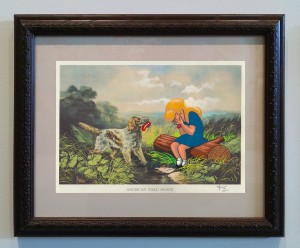 Victor Castillo -  <strong>American Field Sports</strong> (2017<strong style = 'color:#635a27'></strong>)<bR /> gouache on paper in vintage frame, Framed: 13.87 x 11.25 inches, (35.22 x 28.57 cm)